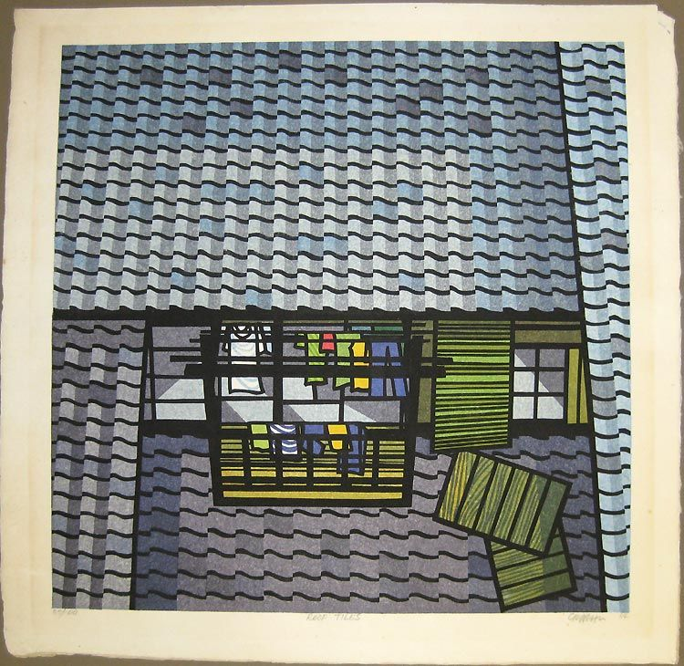 Roof Tiles 37/100 Japanese painting, Japanese artwork