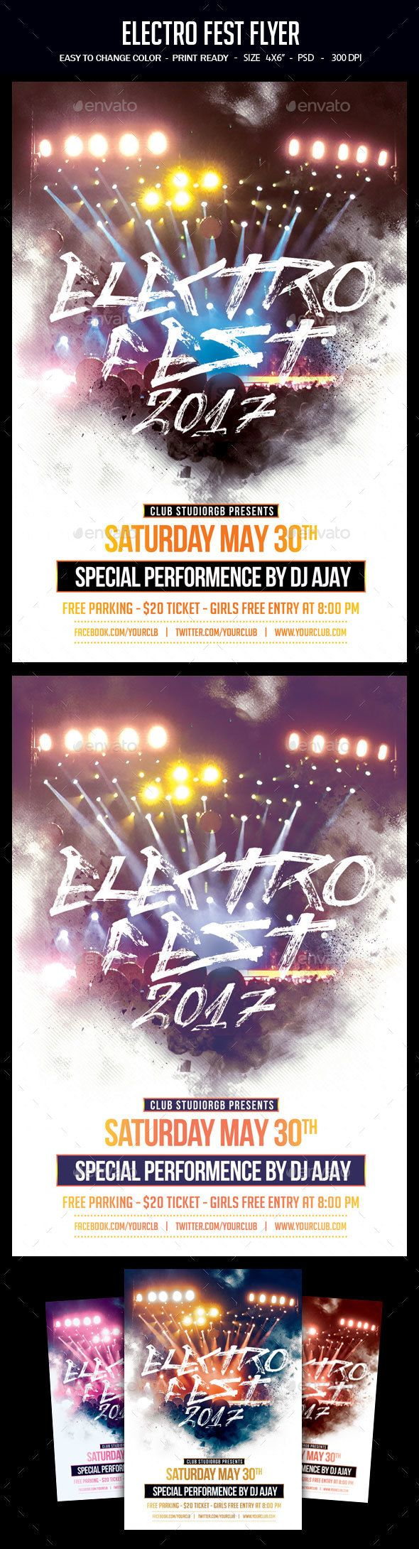 Electro Fest Flyer Pinterest Electro Music Flyer Template And