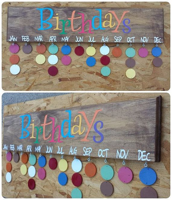 Birthday Calendars - I like the dark background with the bright colors