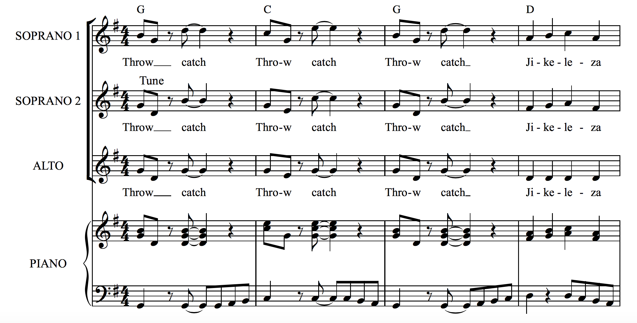 Throw Catch A Fun Choral Piece By A South African
