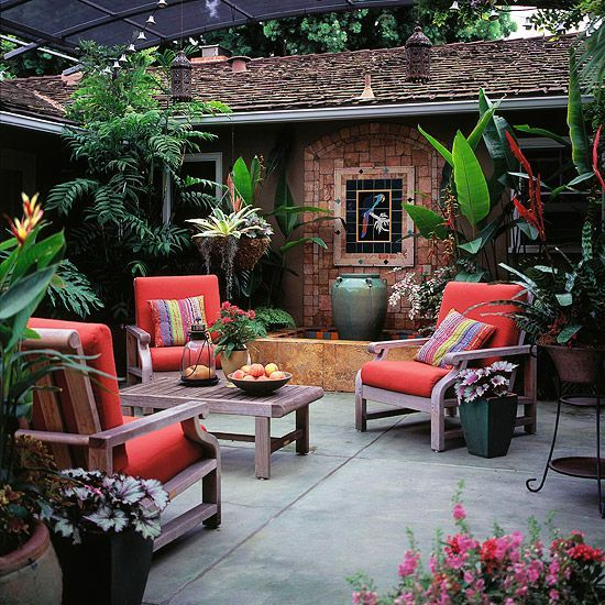 Add A Bit Of The Exotic To Your Patio With Tropical Plants In Containers.  Select Varieties Of Different Heights And Leaf Size And Mass Them Together  For A ...