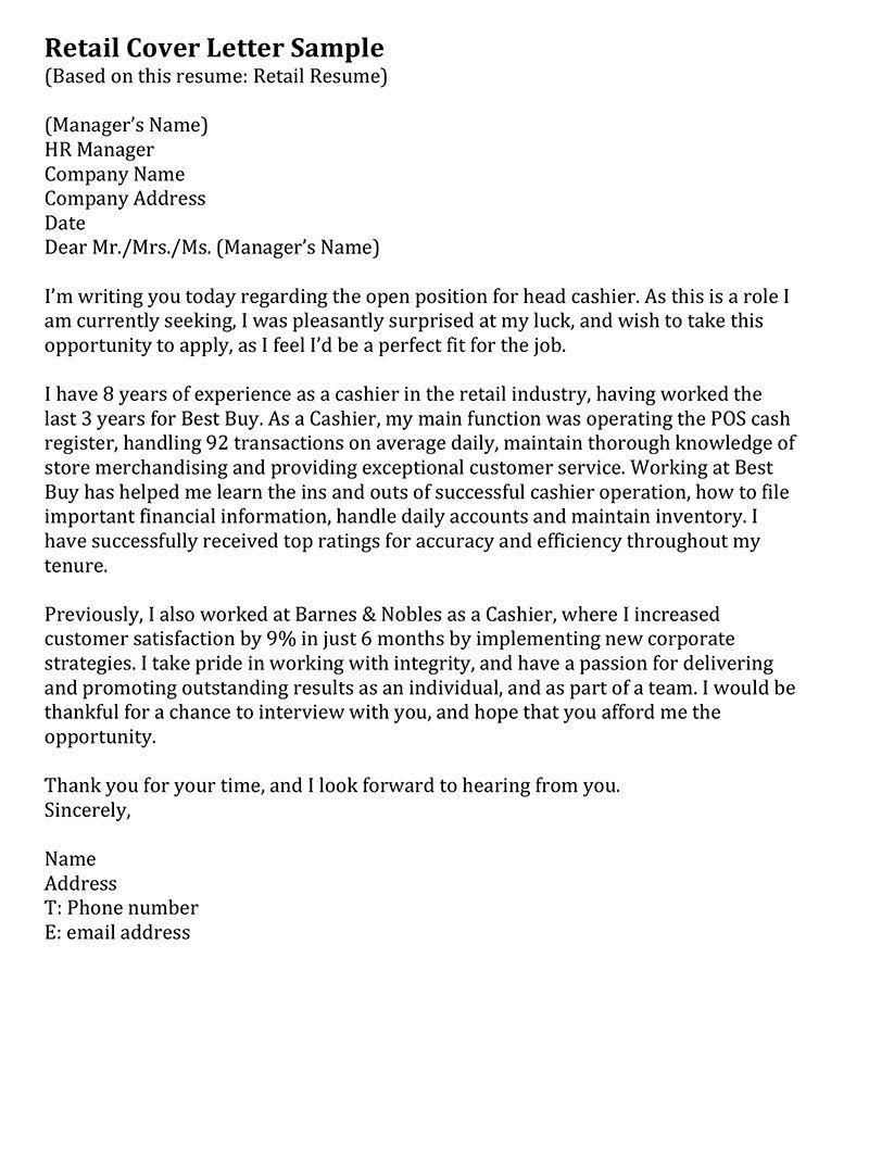Retail Cover Letter Sample  Resume  Cover letter for