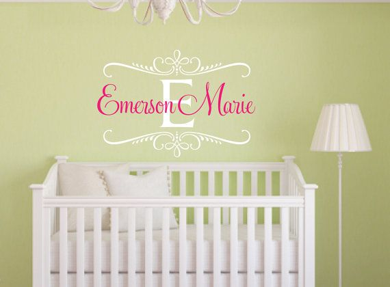 Personalized Name Wall Decal Shabby Chic Baby Girl by NewYorkVinyl ...
