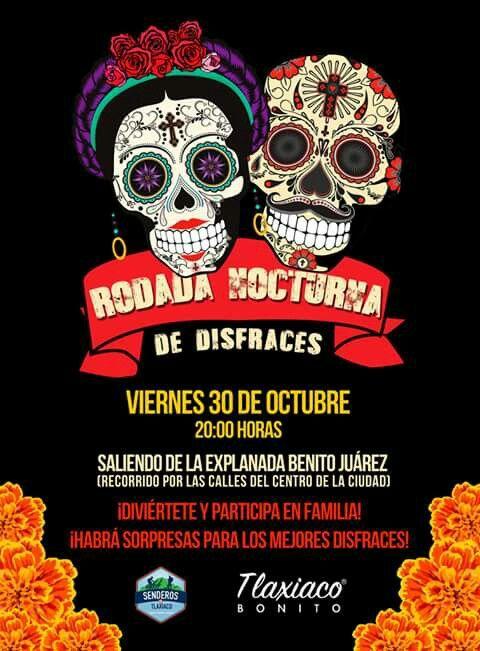 Rodada nocturna de disfraces  halloween dia de muertos la catrina 2015 oaxaca mexico