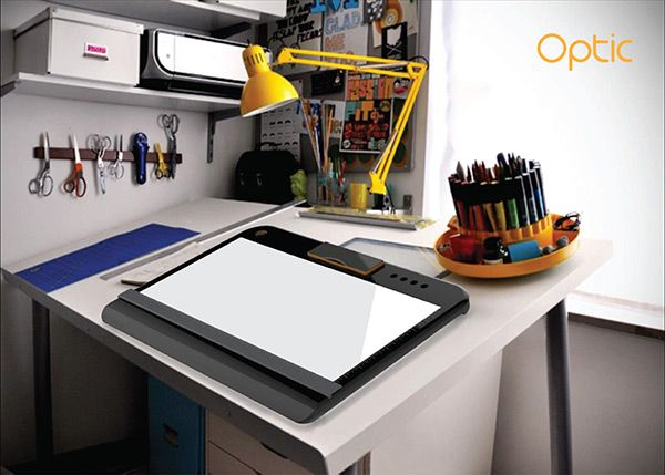 Optic   Portable Tracing And Light Table. Contains Both A Top And Back  Lighting And