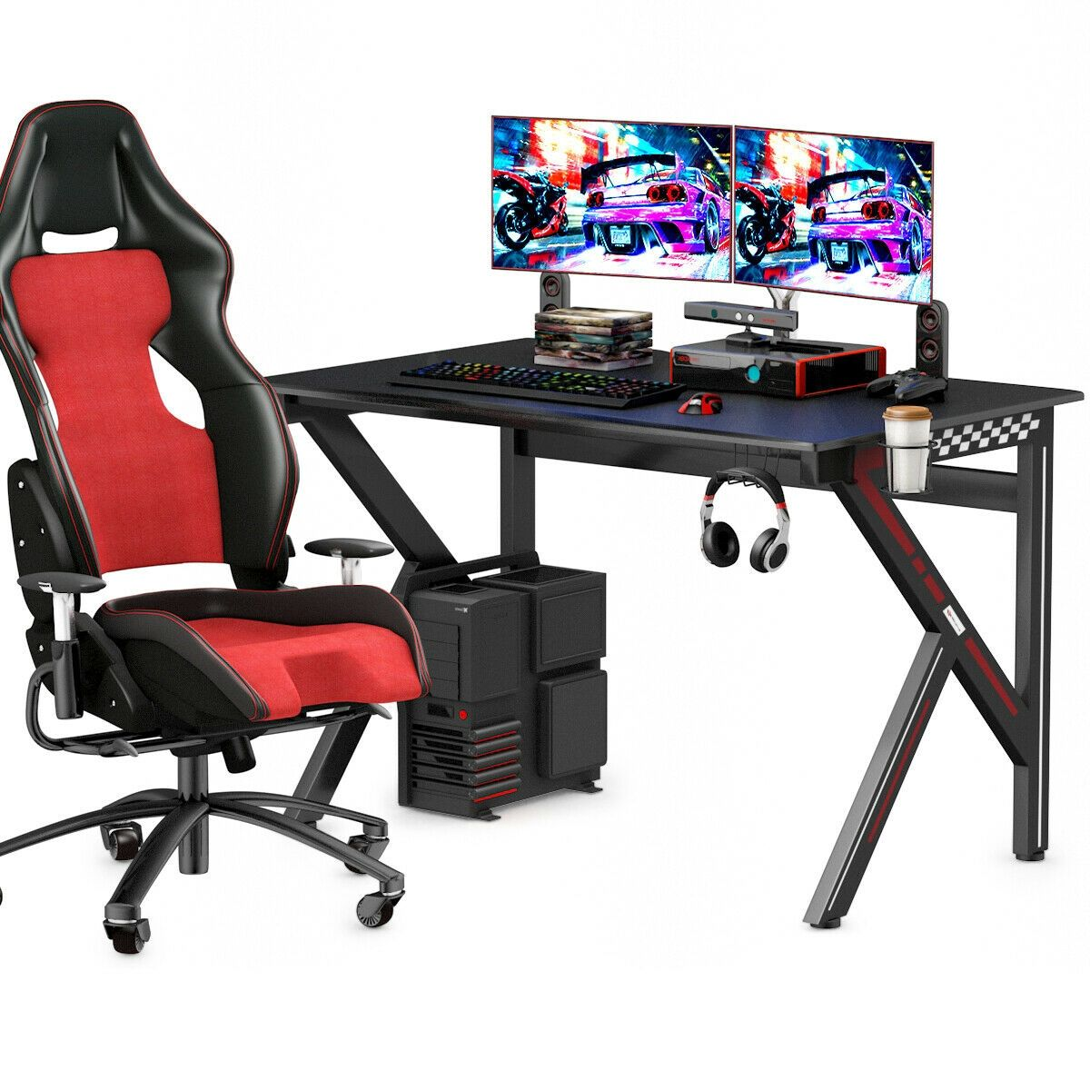 K-Shaped E-Sports Gaming Desk Gamers Computer Table #gamingdesk