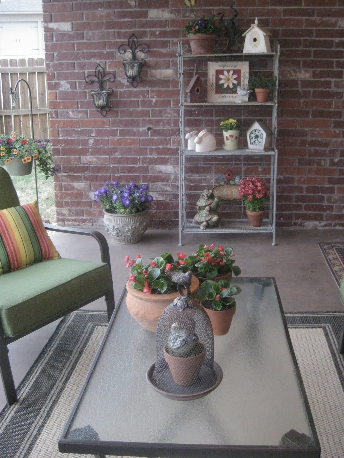 Love The Bakers Rack And Lights On Wall Patio Decor Porch