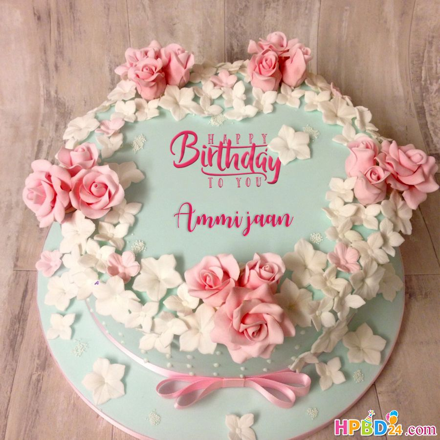 Easy Birthday Flower Rose Cake With Name Online Happy Birthday Rose Rose Cake Flower Cakes Birthday