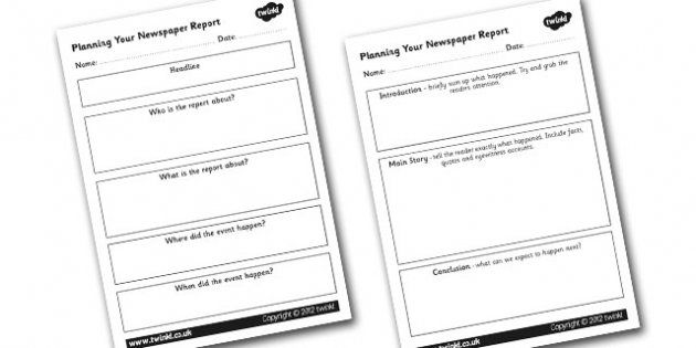 Newspaper Report Planning Worksheets  Newspaper Report Writing A