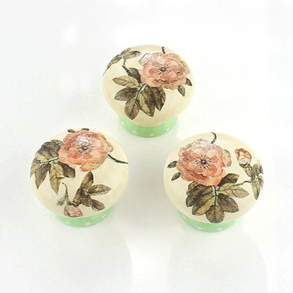 Door Knob, Wooden Drawer Knob, Mint Green Rose Design 45 mm ...