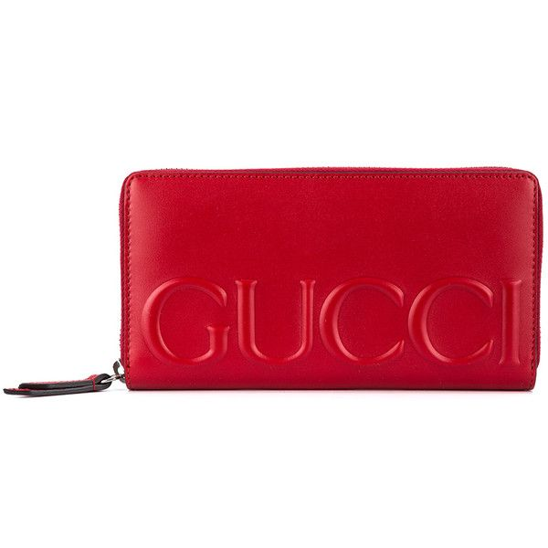 GUCCI XL Leather Logo Wallet (£450) ❤ liked on Polyvore featuring bags, wallets, gucci wallet, red wallet, leather bags, leather credit card holder wallet and red zip around wallet