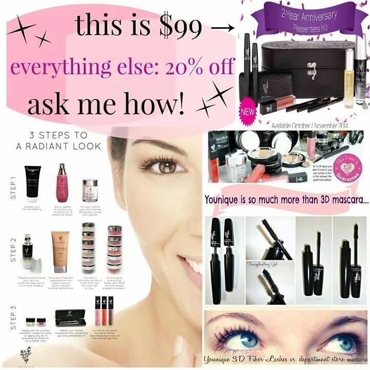 The best deal you will EVER get on Younique cosmetics!  Get your kit for $99 with ALL of this!  Get 20% discount on future purchases.  No requirement to sell!  No autoships, no monthly commitments.  Just great, natural, mineral makeup AND our famous 3D Fiber Lashes+ mascara at an insane price!  Act now!  This offer won't last long!  glamgirlmascara.com