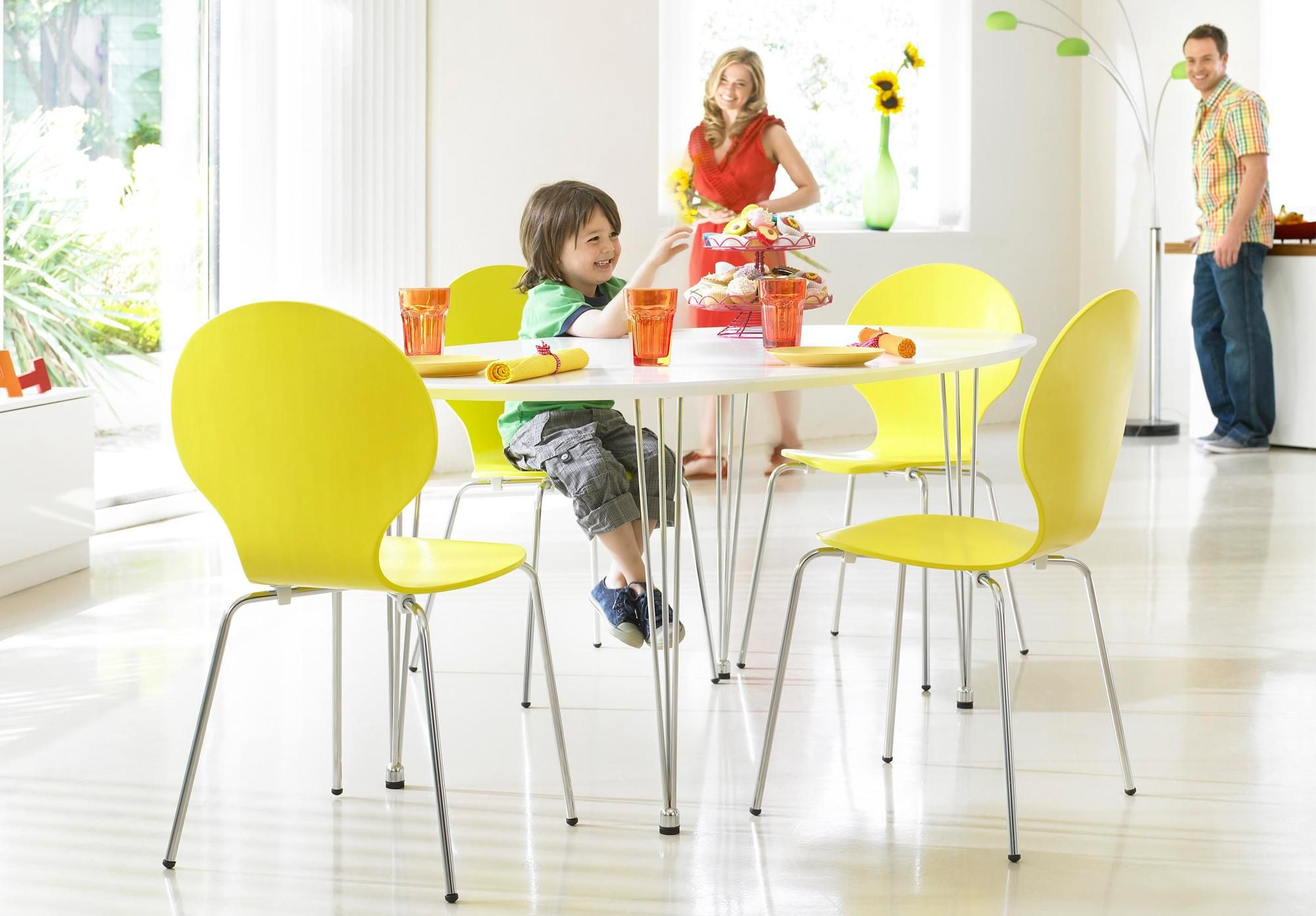 Set of yellow chairs lollipop dining room furniture