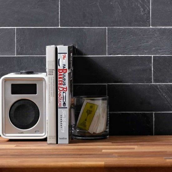 black slate brick natural stone tiles 75x250mm lifestyle - Slate Cafe Ideas