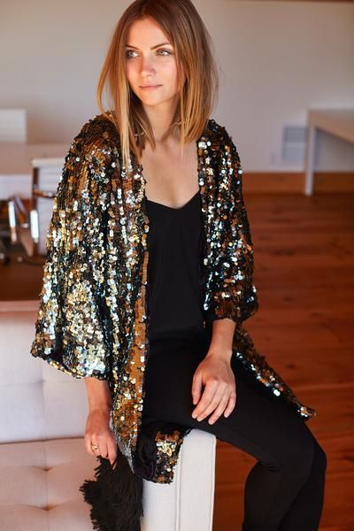 cd583cb3 A sequin Kimono sleeve jacket in beautiful gunmetal tones. Ships well in  time for your holiday festivities. Anytime you put this on, even just  around ...