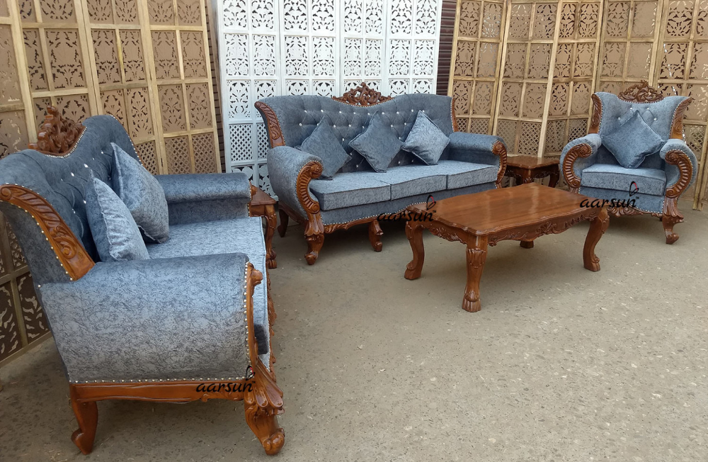 Teak Wood Sofa Set Natural Finish Sf 9 Aarsun Woods Teak Wood Sofa Set Price In Kolkata