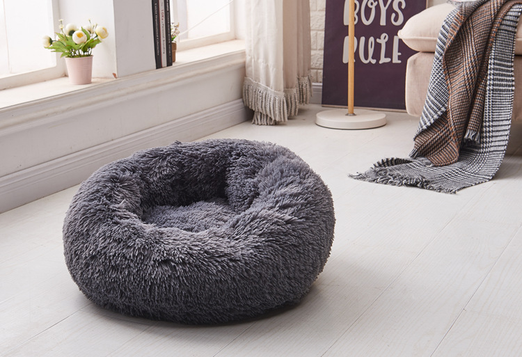 Long Plush Super Soft Dog Bed Pet Kennel Round Sleeping
