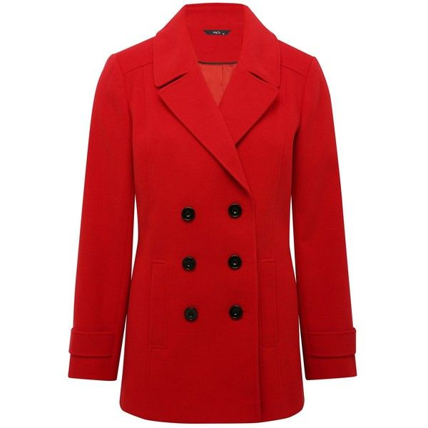shop for authentic available special sales M&Co Red Pea Coat ($52) ❤ liked on Polyvore featuring ...