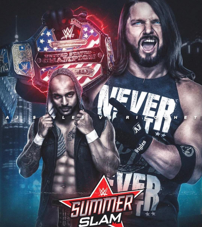 Wwe Summerslam 2019 Ricochet Def Aj Styles To Become New Us Champion Aj Styles Wwe Aj Styles Wwe Summerslam