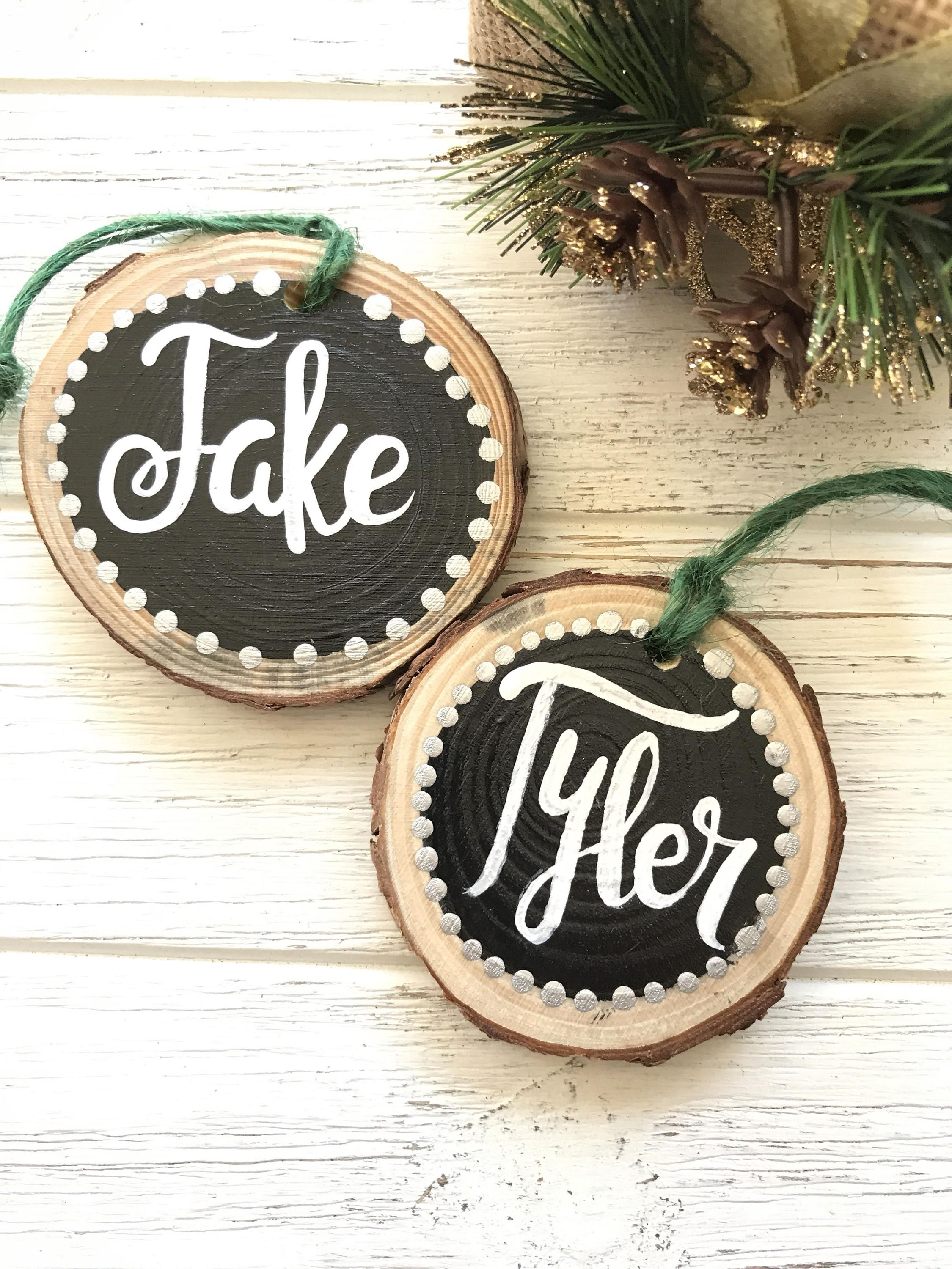Custom Name Ornament Wood Slice Tags Gift Ornaments By Paintedsea On Etsy