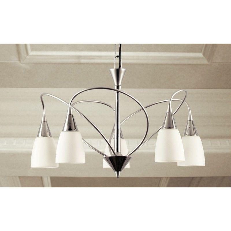 Lampadario moderno cromato con vetri 5 luci Dese 37205