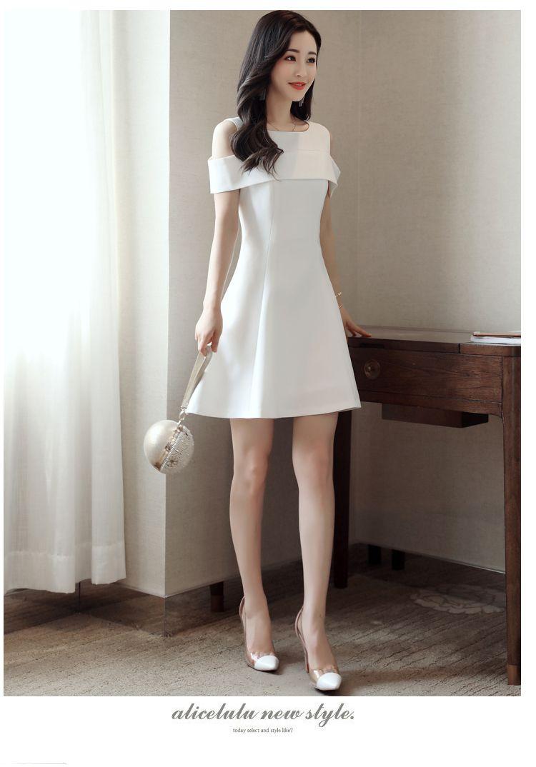 12de4a59924cdf1 Белое платье женские летние 2017 году новой корейской версии темперамент  банкет платье тонкий тонкий платье без