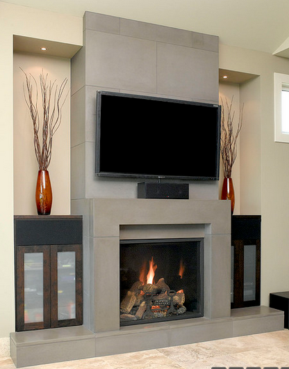 Fireplace Facade solus block concrete fireplace surround w/wall tiles and hearth in