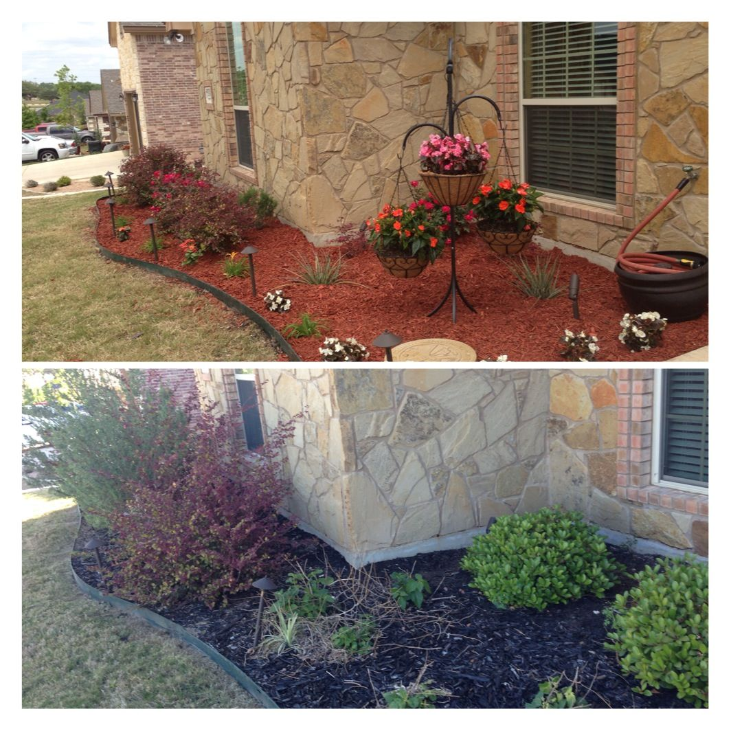 Landscaping Project North Texas: Picture Only- Before And After Weekend DIY Landscaping