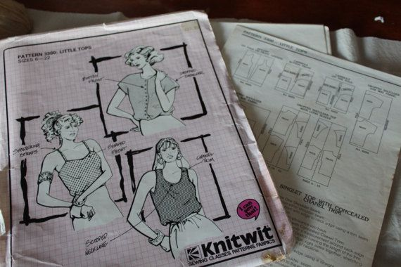 Vintage Knitwit 1980s Sewing Pattern 3300 Little Tops Sizes 6-22 ...