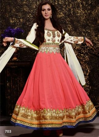 92c2e99184 Thrilling Pink And White Embroidery Resham Work Faux Georgette Long  Anarkali Suit. Online Shopping Designer Long Party Wear Suit In Guyana.