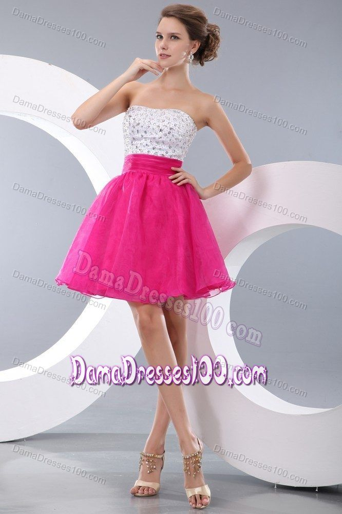Princess Strapless Beading Short Prom Dresses For Dama Hot Pink ...