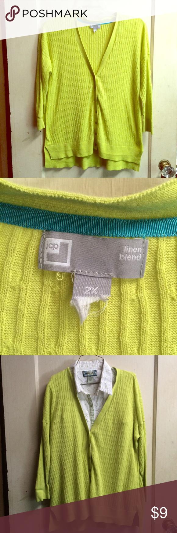 lime green lightweight cardigan half sleeve 2x Plus size 2x ...