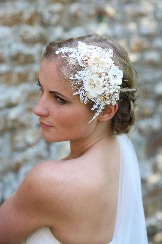 rose gold bridal hair comb , wedding hair piece ,bridal headpiece