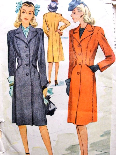 1940s STYLISH War Time Coat Pattern McCALL 5758 Beautifully Fitted ...