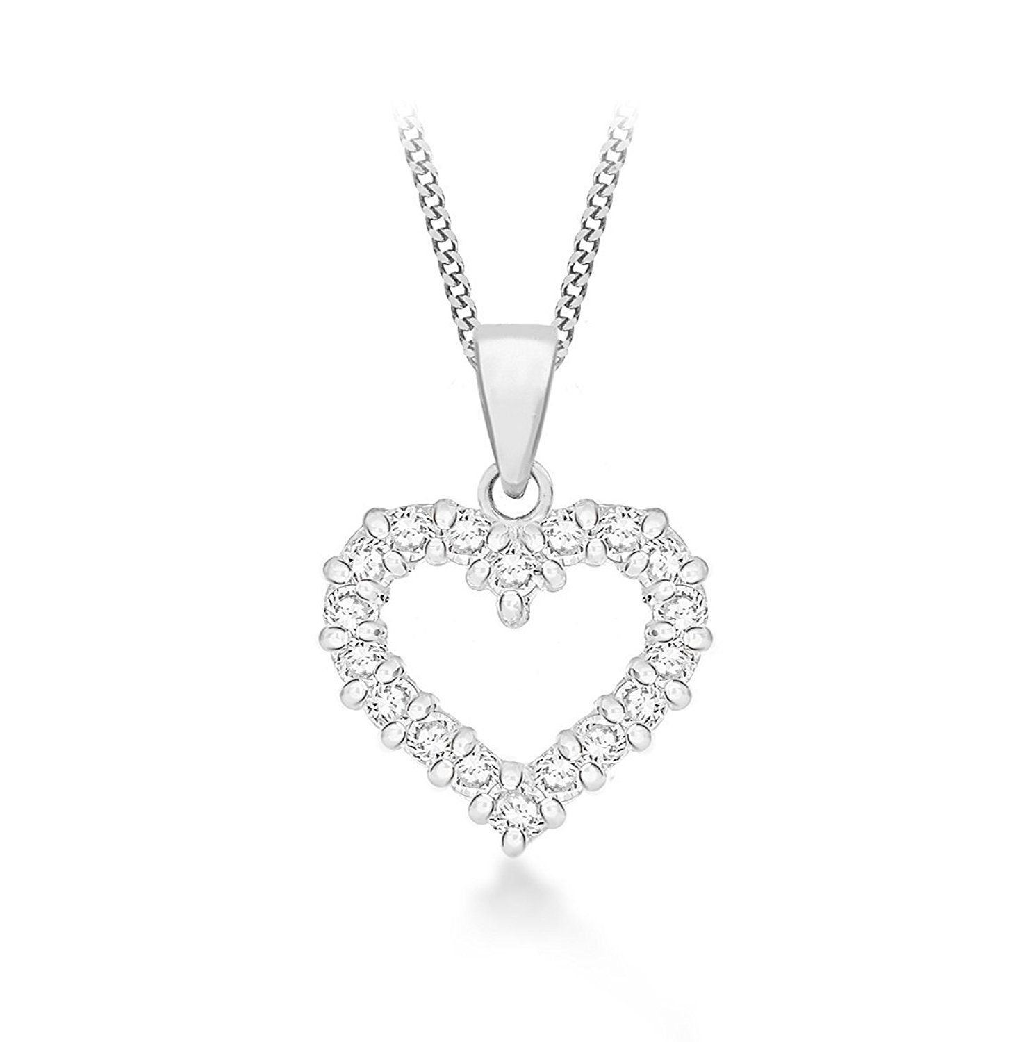 Tuscany Silver Sterling Silver Rhodium Plated Cubic Zirconia Flower Adjustable Necklace of Length 46cm NHFmV