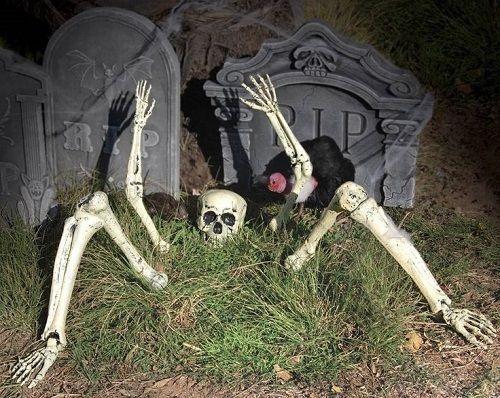 new skeleton parts buried in ground outdoor halloween decoration party prop set - Outdoor Halloween Props