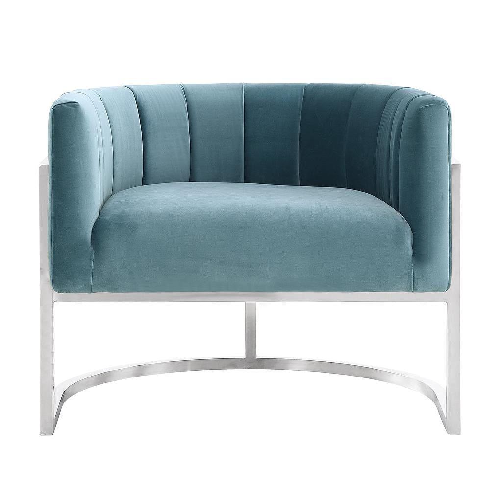 Tov Furniture Magnolia Chair Sea Blue with Silver Base