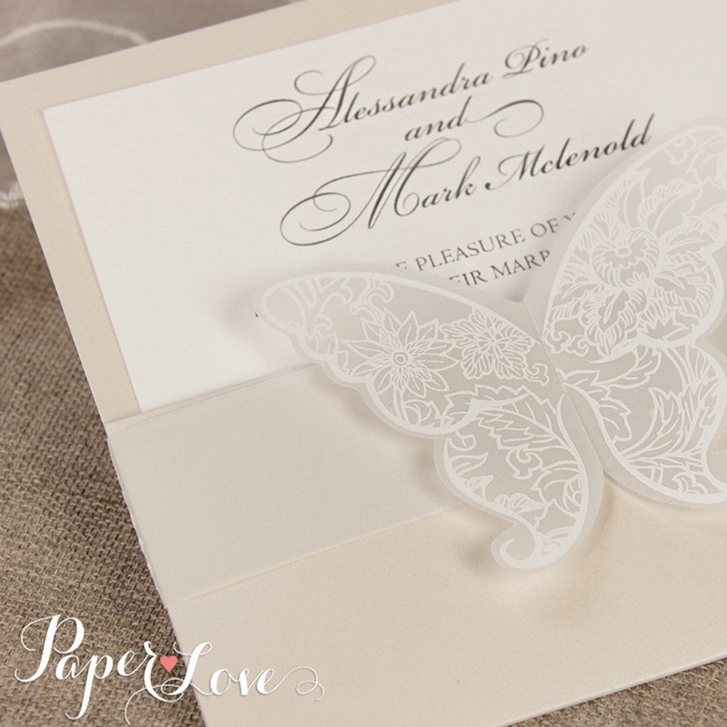 Wedding Invitation Butterfly White Pocket Day Evening Luxury