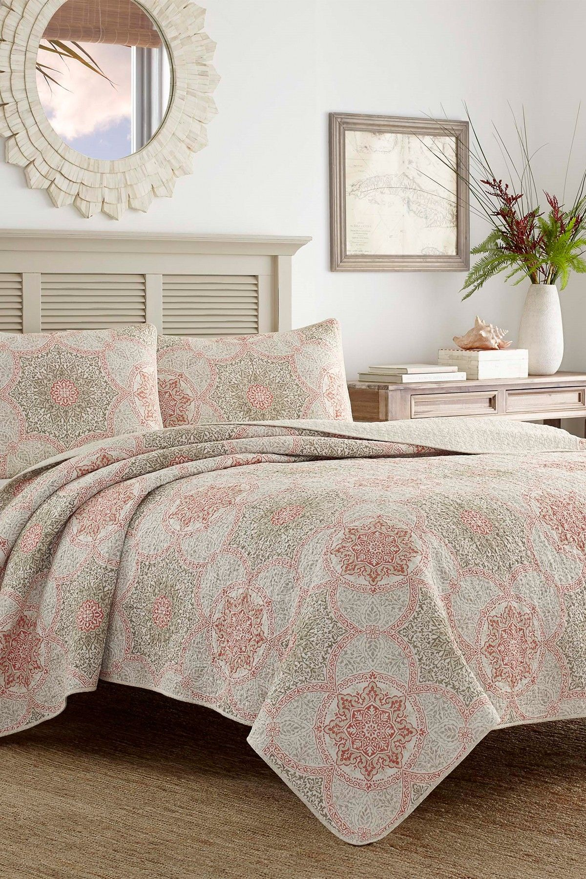 Tommy Bahama Palm Channel Twin Quilt Sham 2 Piece Set Coral