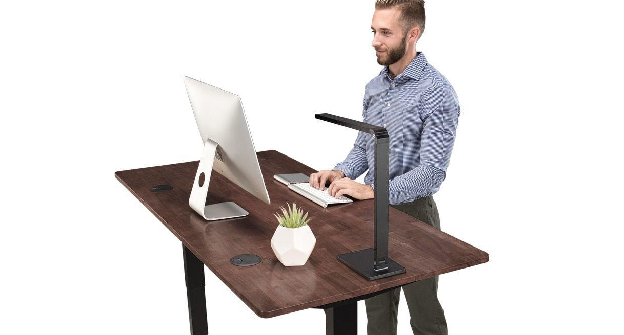 Rubberwood Desktop Is Available In Natural Light Brown Or Dark Brown Options Dark Brown Desks Hardwood Desk Adjustable Standing Desk