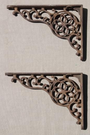 Antique Cast Iron Wall Shelf Bracket Corbels Authentic Vintage Hardware Wrought Iron Accents Wall Shelf Brackets Vintage Hardware