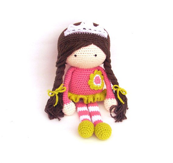 Crochet Doll Princess Ballerina 15 inc 38 cm by TootyLou on Etsy
