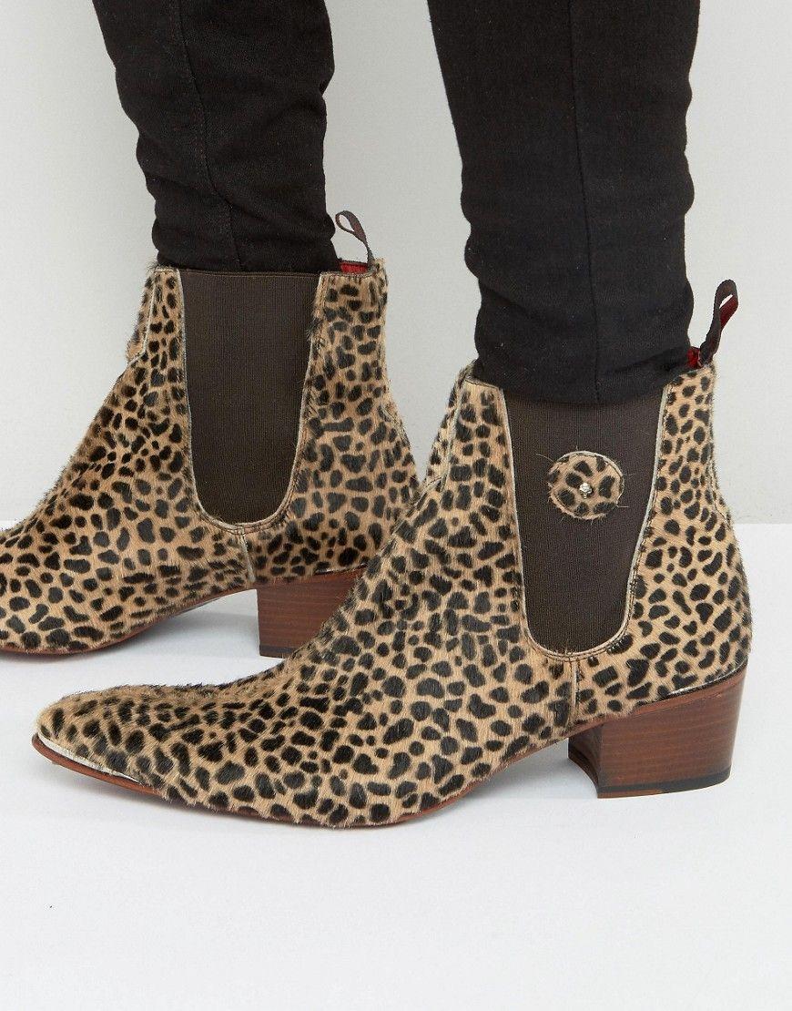 Sylvian Pony Leopard Chelsea Boots