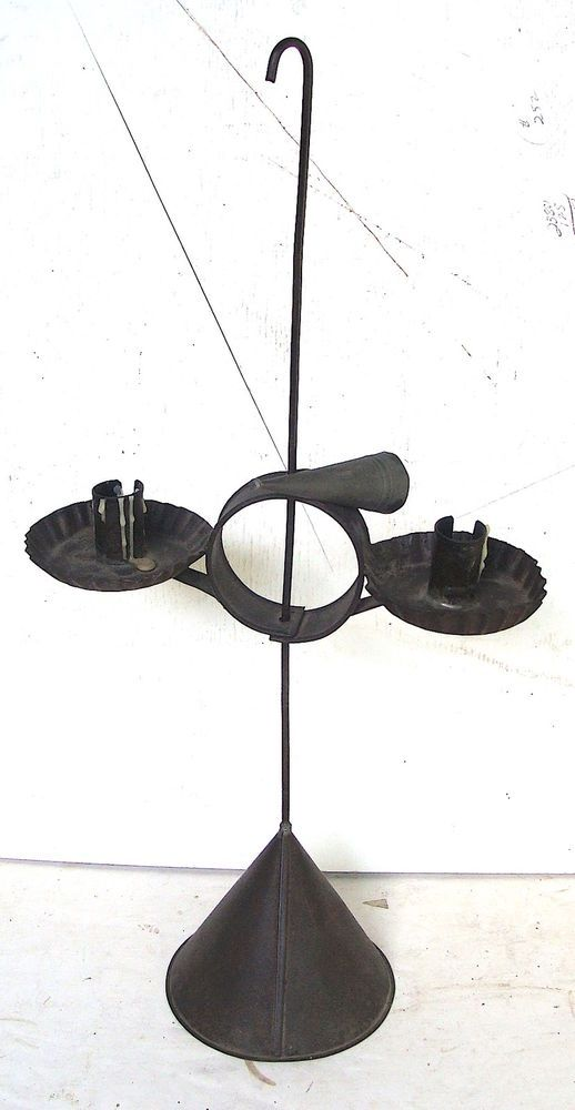 18th or early 19th C adjustable table-model tin candle stand *