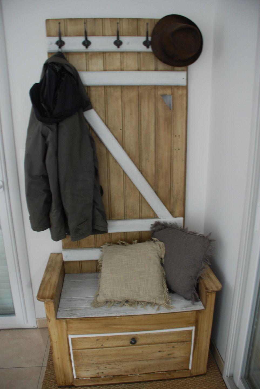 meuble d'entrée fait avec du bois de palette : meubles et rangements