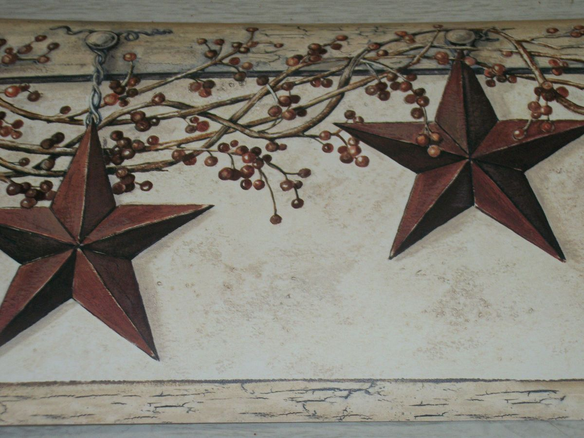 Wallpaper Traditional Country Barn Stars and Winterberries on Beige
