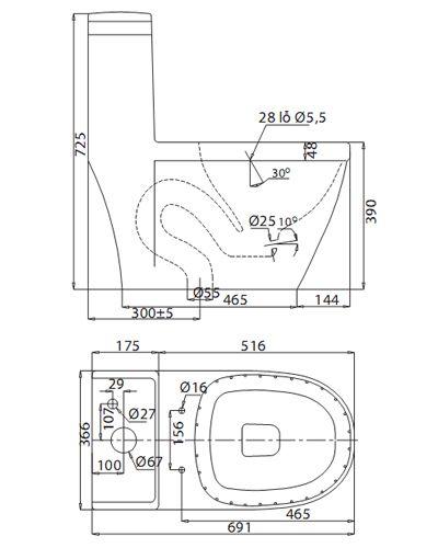 Bản vẽ kỹ thuật bàn cầu Viglacera V35 | Bàn cầu Viglacera giá rẻ
