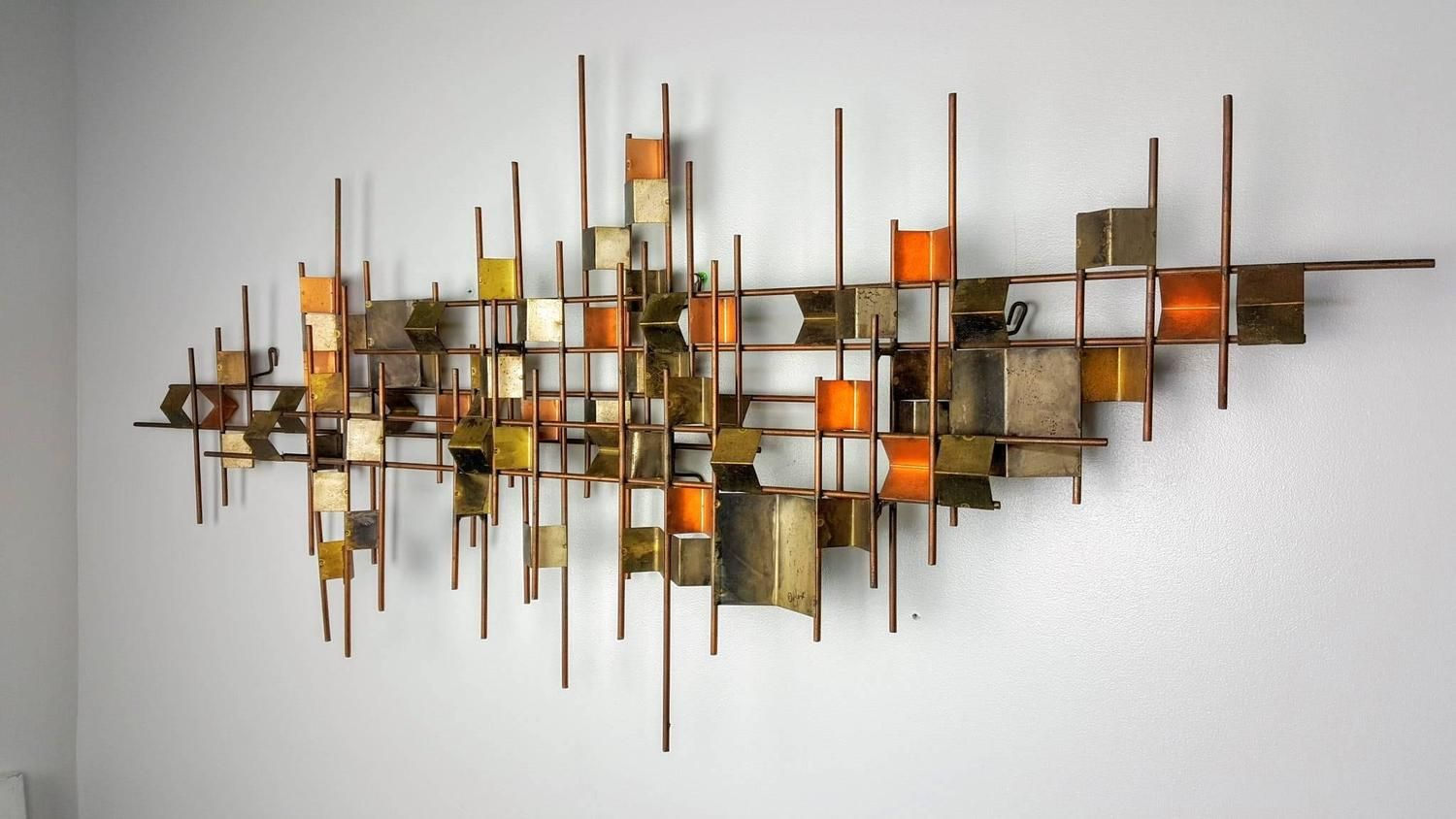 Large Wall Sculpture By Curtis Jere Corrugated Copper Brass And