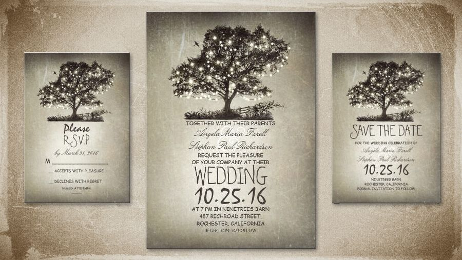 Rustic tree & string lights wedding invitations | Country wedding ...