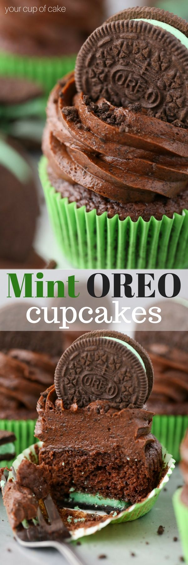 Mint Oreo Cupcakes with Chocolate Oreo Frosting